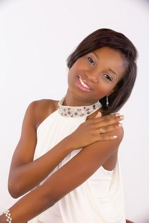 fille noire: Black girl en blanc