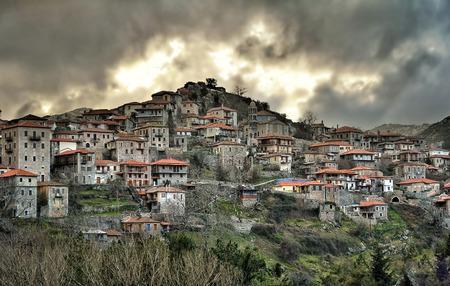 residental: Panoramic view of a beautiful mountain village named Dimitsana,Peloponesse,Greece Stock Photo