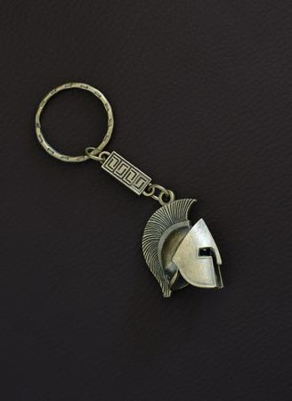 keyring: Bronze key chain of an ancient greek helmet