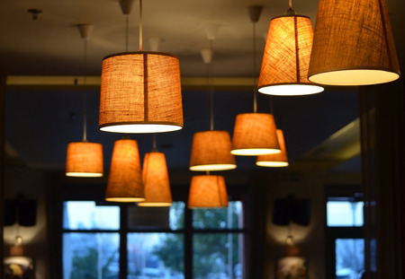Lamps on a coffee shop 스톡 콘텐츠