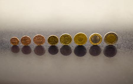 Konzept Mit Kompletten Satz Von Euro Münzen Aus Verschiedenen