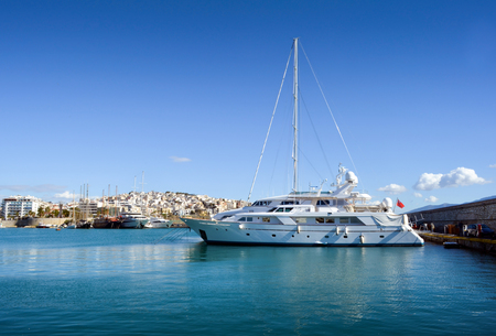 super yacht: Tranquil Scene in a Clear Day with few yachts in Marina Zeas Piraeus Greece