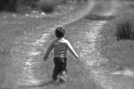 unknown age: KIds running in nature