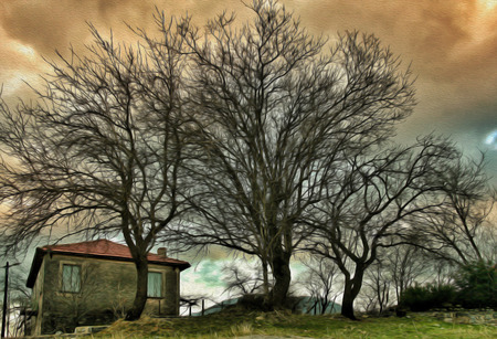 edited photo: Village house on a hill at sunset, Greece Stock Photo