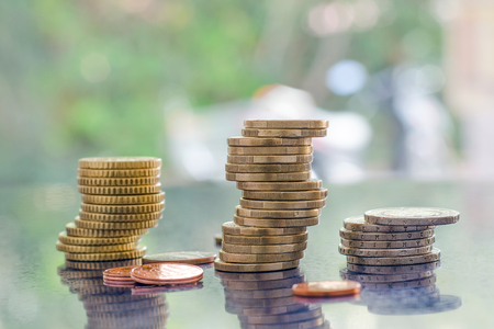 greek coins: Stack of greek euro coins Stock Photo