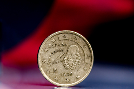 european ethnicity: Close up of 20 cents Spanish Coin