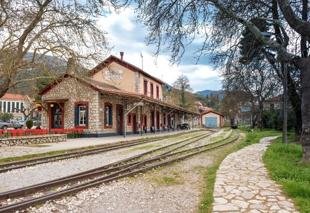 The Old Traditional Railroad Station at Kalavryta,Greece Stock Photo