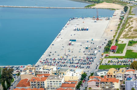 nafplio: Aerial view of comercial and transportation dock at Nafplio city, Argolis, Greece Stock Photo