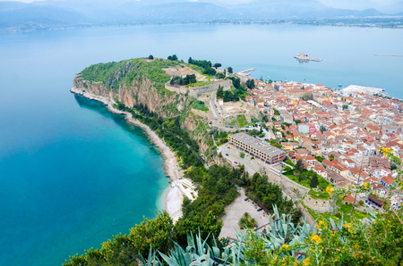 bourtzi: Aerial view of Nafplio city. Tourism travel location in Argolis,Greece