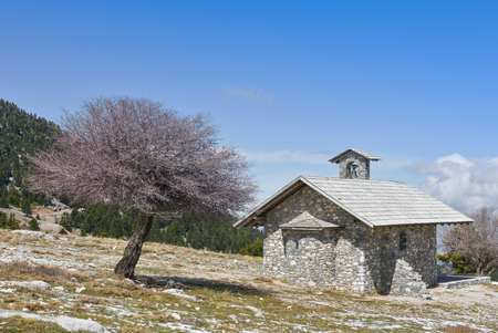 chapel: Winter landscape with a small chapel a tree and blue sky  on mountain Helmos near Kalavryta town in Greece