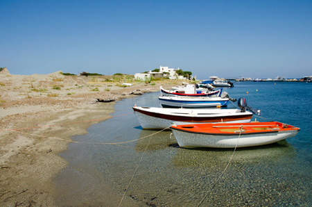 Tranquil scene os small fisherboats at the harbor of Skyros island ,Greece