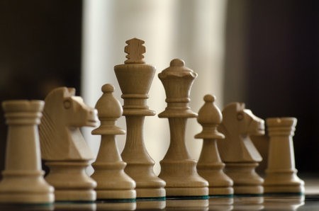 filming point of view: conceprt with chess pieces and lighting Stock Photo