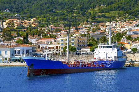 tranfer: Ship transfer water to Spetses island, Greece