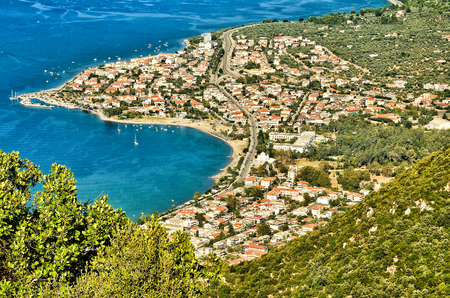 seaa: Panorama view cape of Kamena Vourla city and Aegean sea.A touristIc destination in Greece