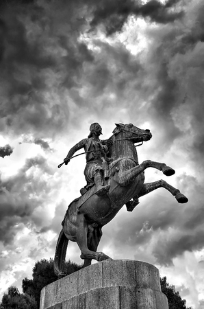 Statue of greek hero Karaiskakis,located opposite panathinaic stadium,Athens Stock Photo