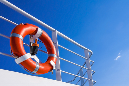 Life buoy on the deck of cruise ship