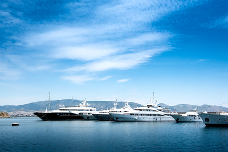 Luxury motorboats and yachts at the dock.Marina Zeas, Piraeus,Greece Banco de Imagens