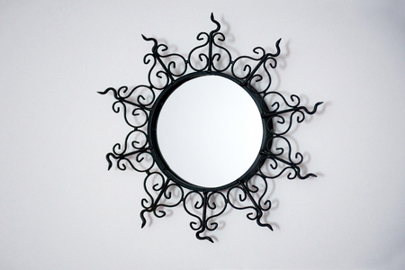 full length mirror: vintage patterned metal frame for mirror isolated