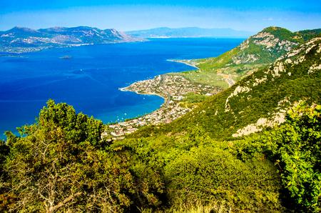 Panorama view cape of Kamena Vourla city and Aegean sea.A touristIc destination in Greece. Stock Photo
