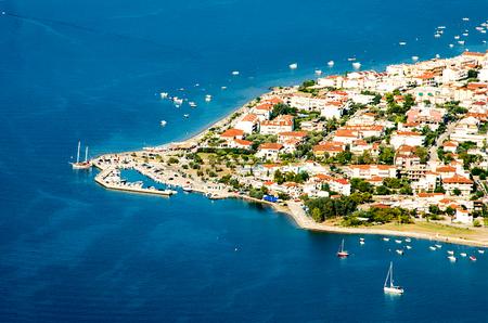 Panorama view cape of Kamena Vourla city and Aegean sea, tourist destination in Greece.