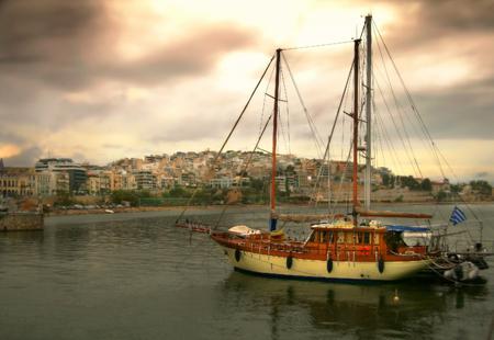 view of Kastela and Pasalimani. Piraeus. Greece. Soft focus editing