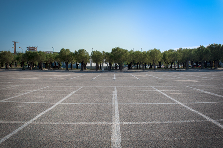Empty car parking area in Rafina city, Greece