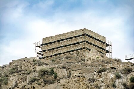 Building in the top of hill in Skyros island. Sporades island, Greece 写真素材 - 128904494