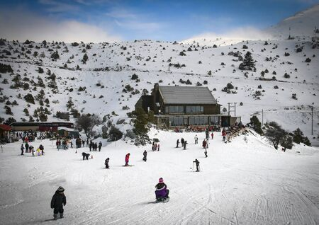 Ski center on Mainalo mountain in Arcadia, Peloponnese, Greece.