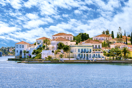 Buildings of Spetses island on Saronic gulf near Athens. Ideal travel destination for quiet vacations . Greece