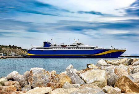 Large Ferryboat at the dock. Rafina port, Greece Stock Photo