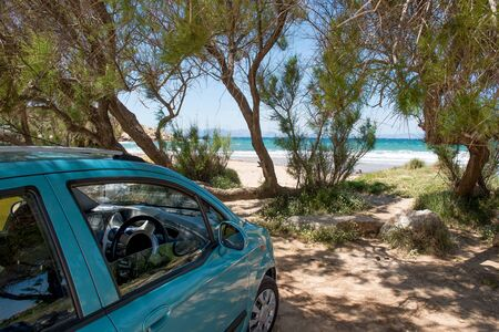 Green car parked on sand beach under the trees.