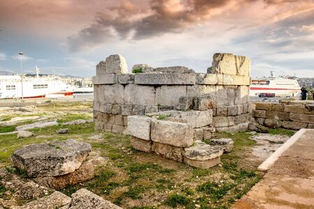 The one from the two  towers (ruins) in Hietionia. Piraeus port. Greece. 写真素材 - 128904906