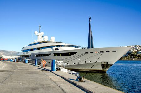 Luxury yacht at marina Zeas,Piraeus port, Greece