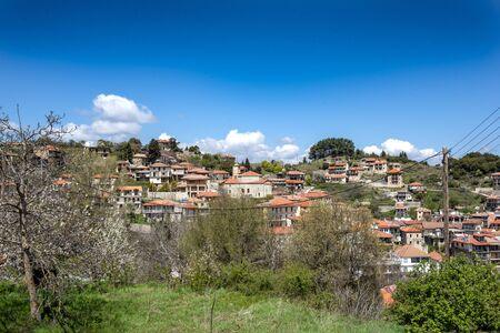 view of mountain village, Baltessiniko in Arcadia, Peloponnese, Greece
