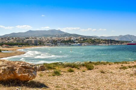 view to the beach and port of Rafina city in Greece