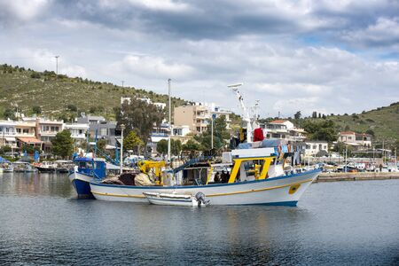 Fishing boats at small harbour in Pachi village. Megara,Greece Stockfoto