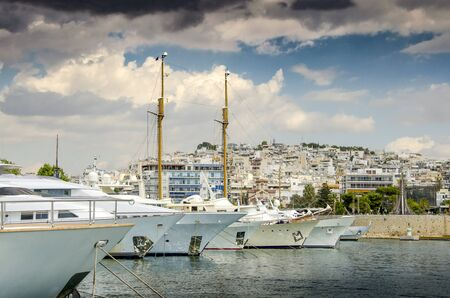 Luxury motorboats and yachts at the dock.Marina Zeas, Piraeus,Greece Stockfoto