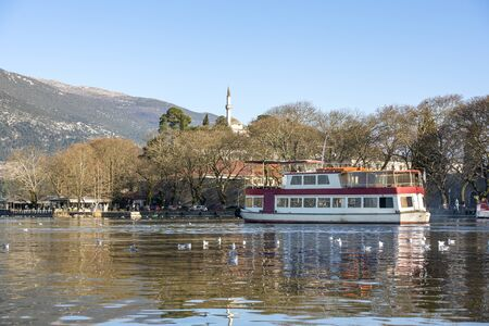 View of lake Pamvotis in Ioannina city, Greece