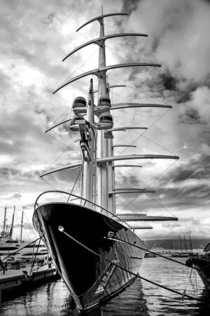 View of a fantastic mega luxury motor boat with big masts at marina Zeas,Piraeus,Greece Stockfoto