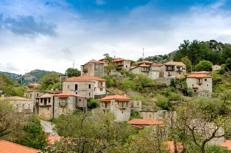 Beautiful traditional achitecture on mountain of Mainalo.Stemnitsa village,Peloponnese.Greece.