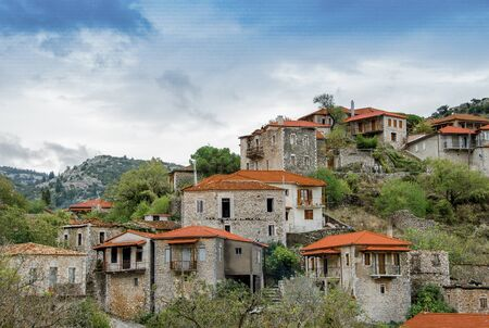 Beautiful traditional achitecture on mountain of Mainalo.Stemnitsa village in Greece.