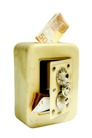 Money bank, safe style, isolated photo