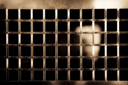 Golden metallic grid Stock Photo