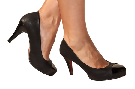 Woman s legs fetish with black shoes Stock Photo