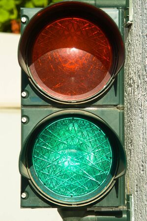 Garage traffic lights with the green light on. Free to enter.
