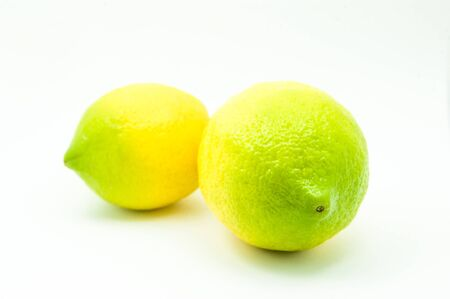 Two home grown biological lemons isolated at the studio