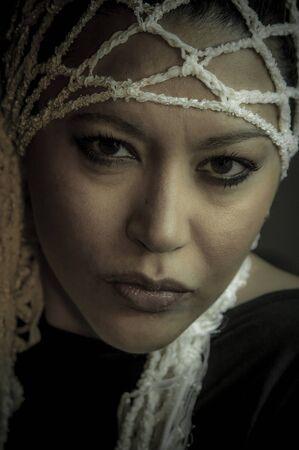 Portrait of a beautiful multiracial girl wearing head accessory