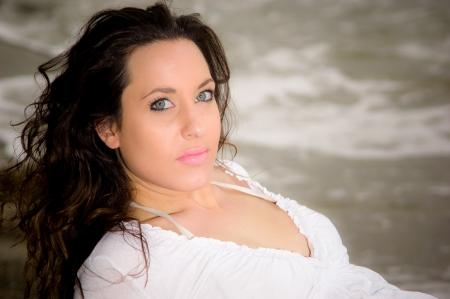 Beautiful caucasian woman at the beack Standard-Bild