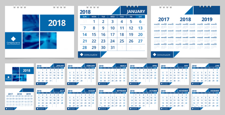 front desk: Calendar 2018 week start on Sunday. Desk calendar for corporate business design blue and white color layout template set 12 months, front cover and back cover. Vector EPS-10 sample image with Gradient Mesh.