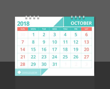 Calendar 2018 October week start on Sunday. Desk calendar for corporate design template vector.